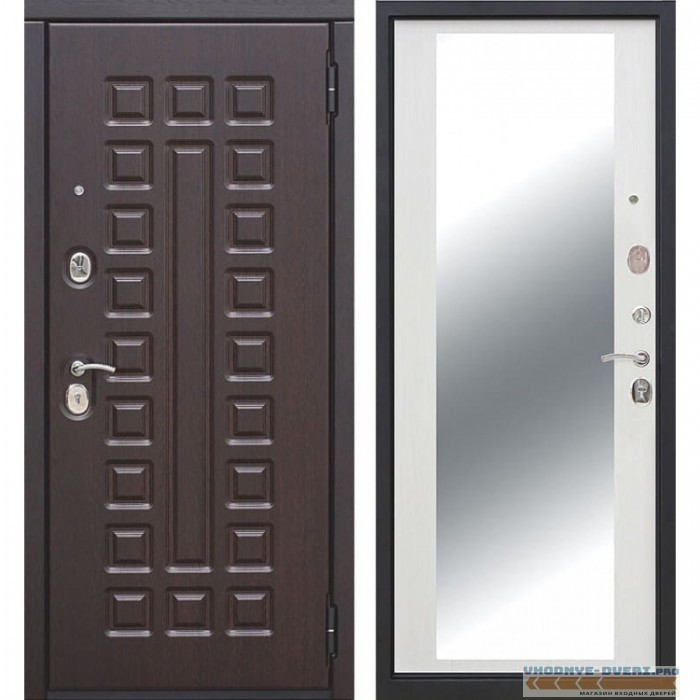 Входная металлическая дверь Монарх Зеркало Maxi (Венге / Ясень белый)