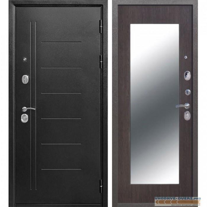 Входная металлическая дверь Троя Зеркало Maxi (Антик Серебро / Венге)