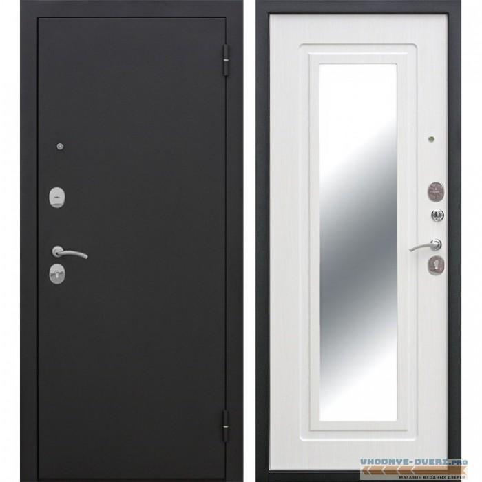 Входная металлическая дверь Царское Зеркало (Черный муар / Ясень белый)