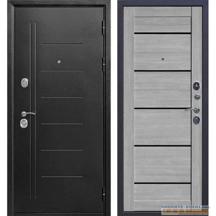 Входная металлическая дверь Троя (Антик темное Серебро / Дуб дымчатый)