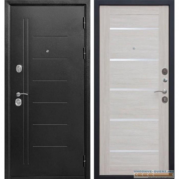 Входная металлическая дверь Троя (Антик темное Серебро / Лиственница беж)
