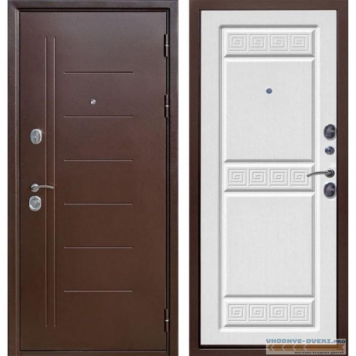Входная металлическая дверь Троя (Антик Медь / Ясень белый)