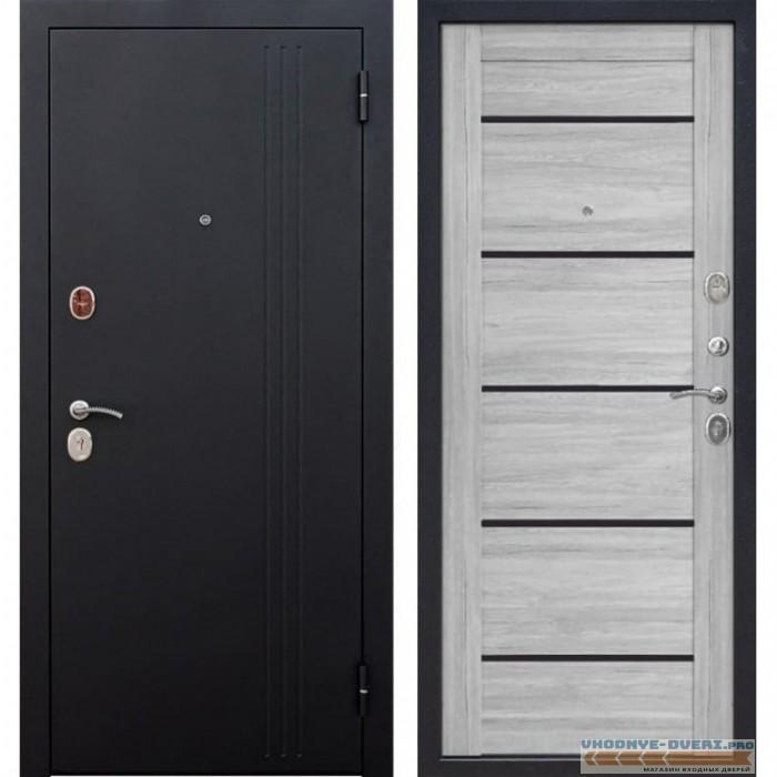 Входная металлическая дверь Нью-Йорк (Черный муар / Ривьера пепельная)