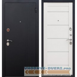 Входная металлическая дверь Нью-Йорк (Черный муар / Ясень белый эмаль)