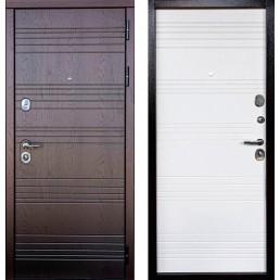 Входная металлическая дверь Министр 3К (Дуб фактурный горький шоколад / Белое дерево)