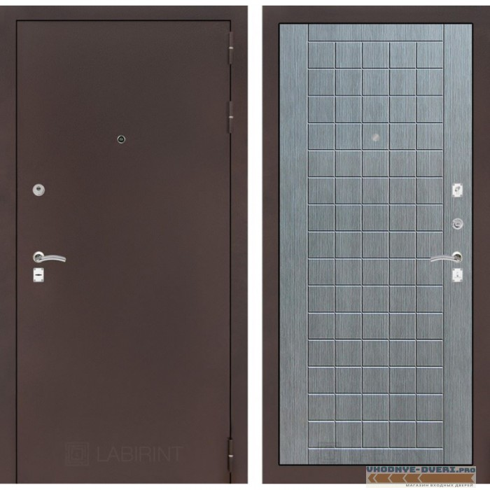 Входная дверь Лабиринт CLASSIC антик медный 09 - Лен сильвер грей