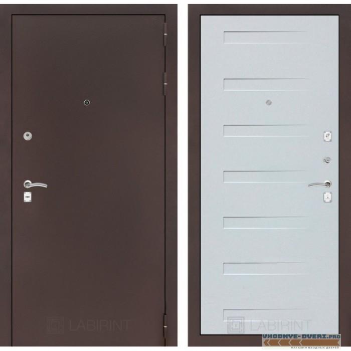 Входная дверь Лабиринт CLASSIC антик медный 14 - Дуб кантри белый горизонтальный