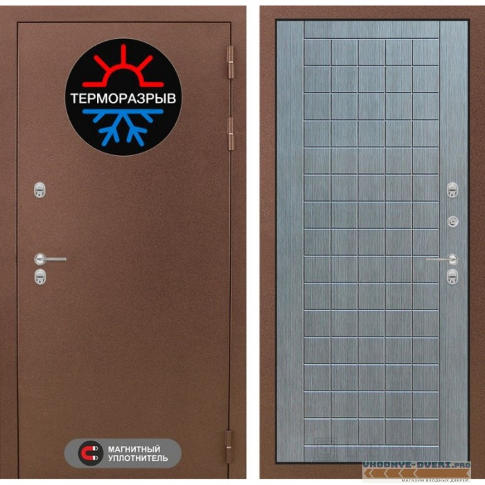 Входная Дверь Лабиринт - Термо Магнит 09 - Лен сильвер грей