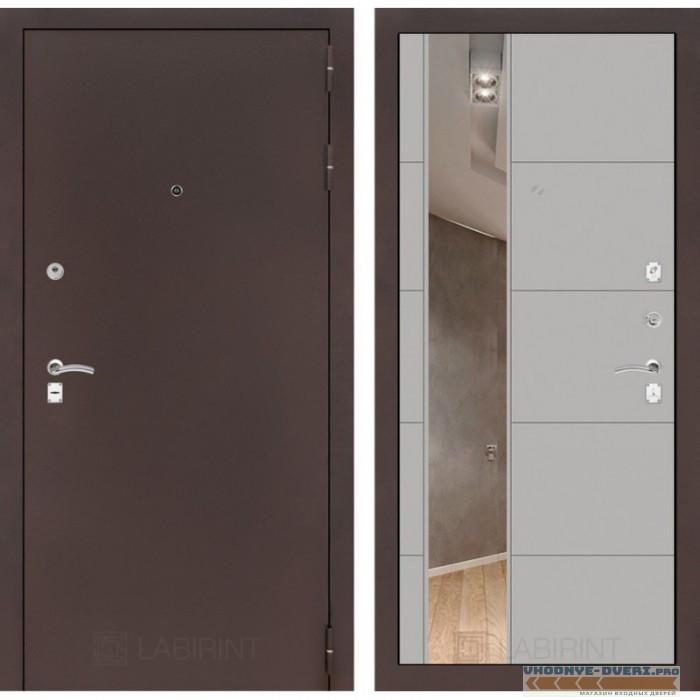 Входная дверь Лабиринт CLASSIC антик медный с Зеркалом 19 - Грей софт