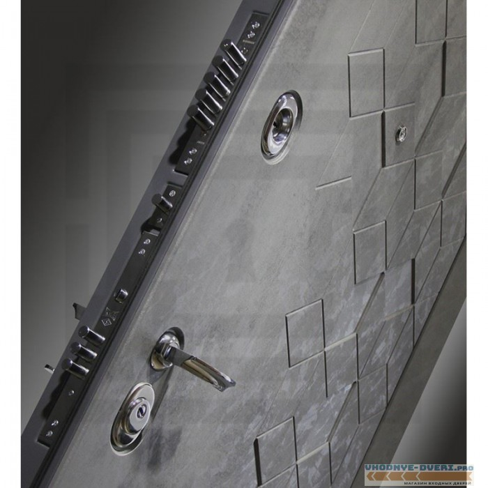 Входная дверь Лабиринт Бетон с зеркалом 19 - Грей софт