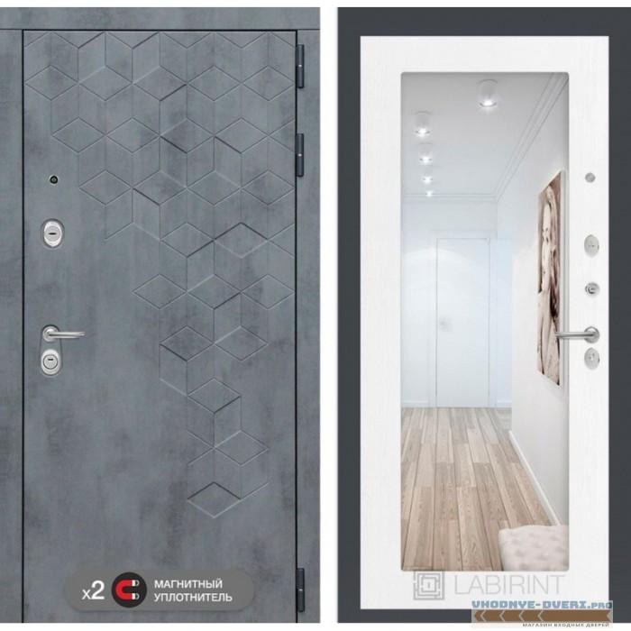 Входная дверь Лабиринт Бетон с зеркалом 18 - Белое дерево