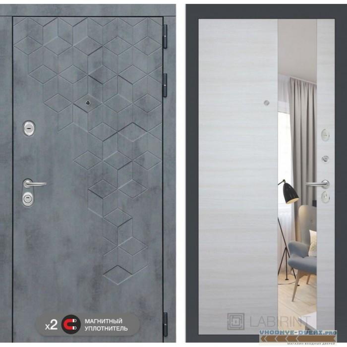 Входная дверь Лабиринт Бетон с узким зеркалом - Акация светлая горизонтальная