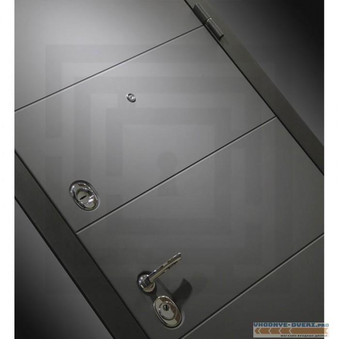 Входная дверь Лабиринт ART графит с Зеркалом - Акация светлая горизонтальная