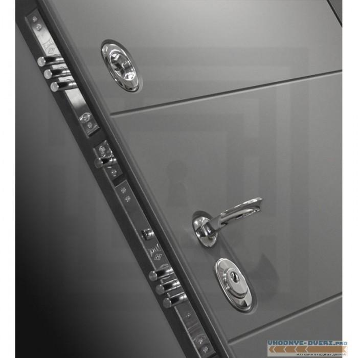 Входная дверь Лабиринт ART графит 02 - Сандал белый, стекло черное