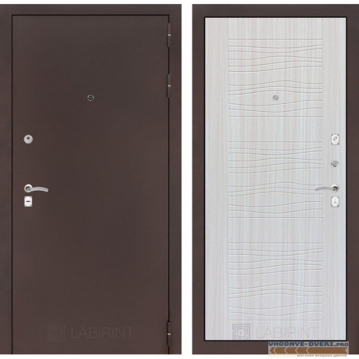 Входная дверь Лабиринт CLASSIC антик медный 06 - Сандал белый