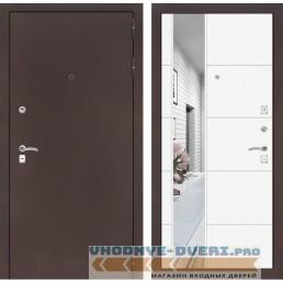 Входная дверь Лабиринт CLASSIC антик медный с Зеркалом 19 - Белый софт