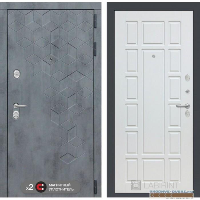Входная дверь Лабиринт Бетон 12 - Белое дерево