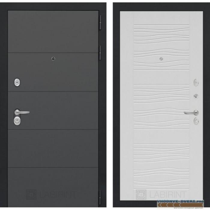 Входная дверь Лабиринт ART графит 06 - Белое дерево