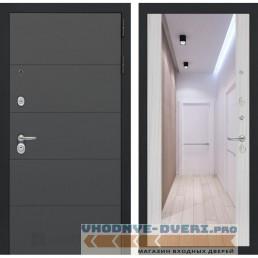 Входная дверь Лабиринт ART графит с Зеркалом Максимум - Сандал белый
