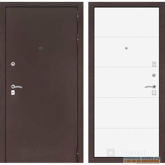 Входная дверь Лабиринт CLASSIC антик медный 13 - Белый софт