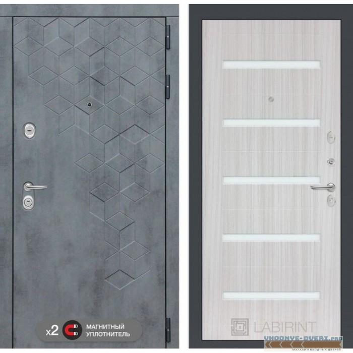 Входная дверь Лабиринт Бетон 01 - Сандал белый, стекло белое