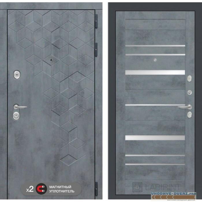 Входная дверь Лабиринт Бетон 20 - Бетон темный, зеркальные вставки