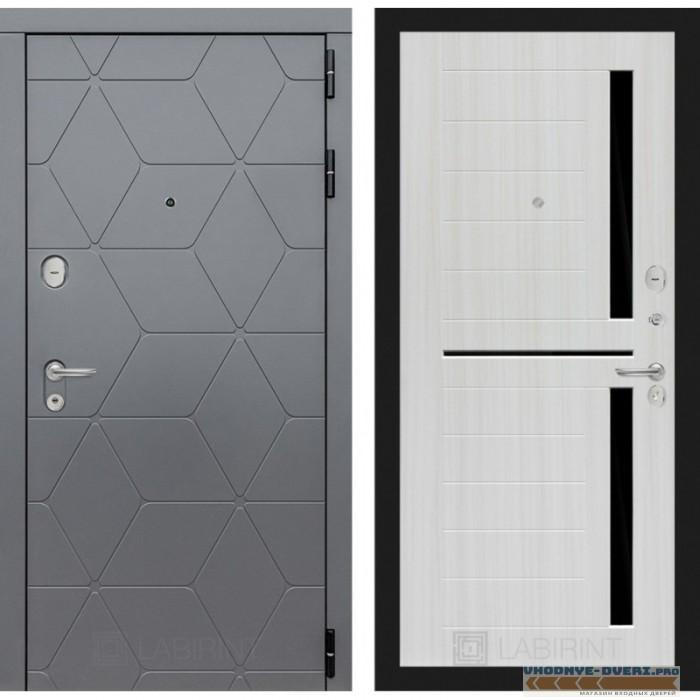 Входная дверь Лабиринт COSMO 02 - Сандал белый, стекло черное