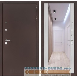 Входная дверь Лабиринт CLASSIC антик медный с Зеркалом Максимум - Сандал белый