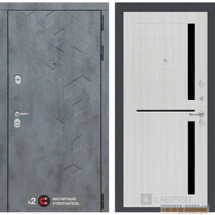 Входная дверь Лабиринт Бетон 02 - Сандал белый, стекло черное