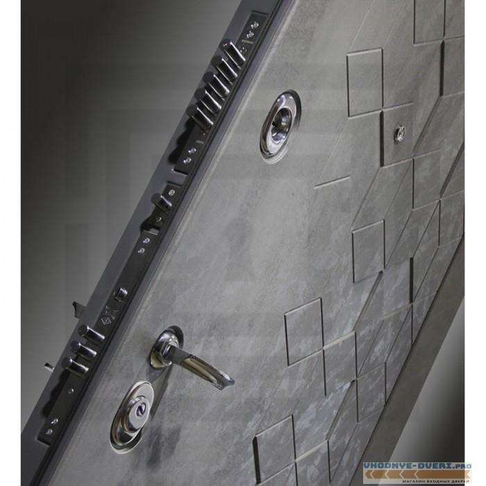 Входная дверь Лабиринт Бетон 01 - Беленый дуб, стекло черное