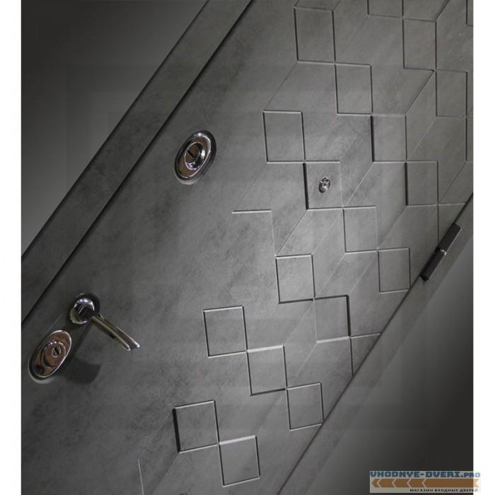Входная дверь Лабиринт Бетон 20 - Бетон светлый, зеркальные вставки