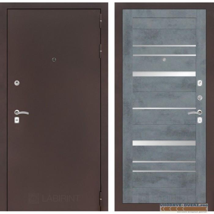 Входная дверь Лабиринт CLASSIC антик медный 20 - Бетон темный, зеркальные вставки
