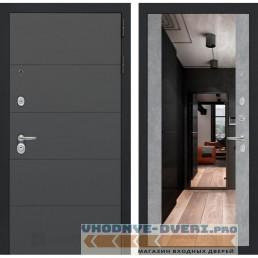 Входная дверь Лабиринт ART графит с Зеркалом Максимум - Бетон светлый