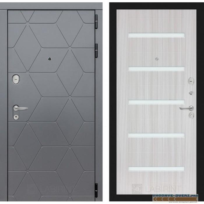Входная дверь Лабиринт COSMO 01 - Сандал белый, стекло белое