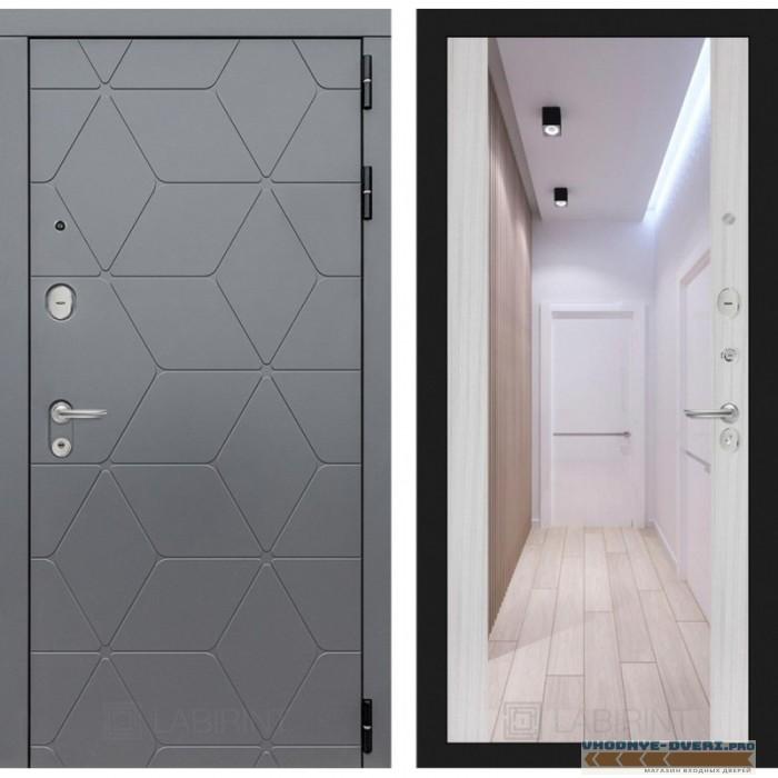 Входная дверь Лабиринт COSMO с зеркалом Максимум - Сандал белый