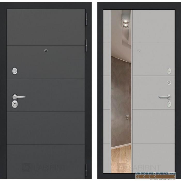 Входная дверь Лабиринт ART графит с Зеркалом 19 - Грей софт