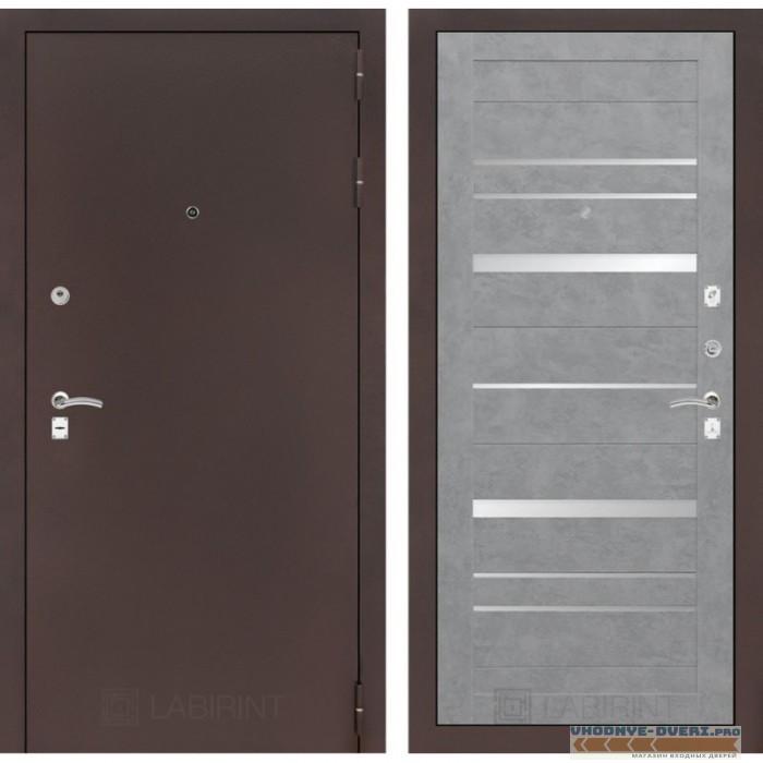 Входная дверь Лабиринт CLASSIC антик медный 20 - Бетон светлый, зеркальные вставки