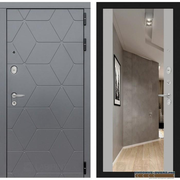 Входная дверь Лабиринт COSMO с зеркалом Максимум - Грей софт