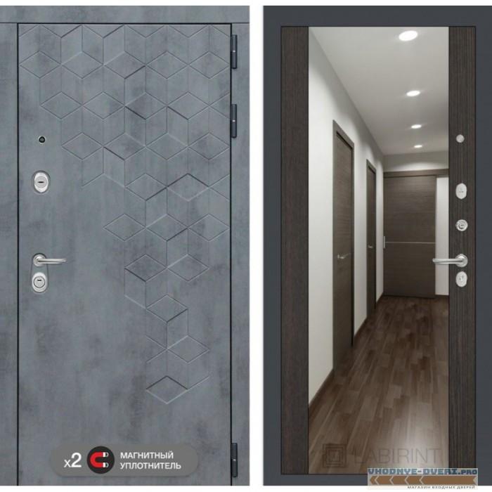 Входная дверь Лабиринт Бетон с зеркалом Максимум - Венге
