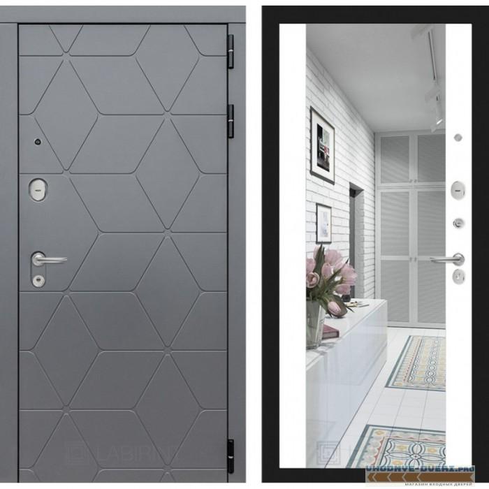 Входная дверь Лабиринт COSMO с зеркалом Максимум - Белый софт