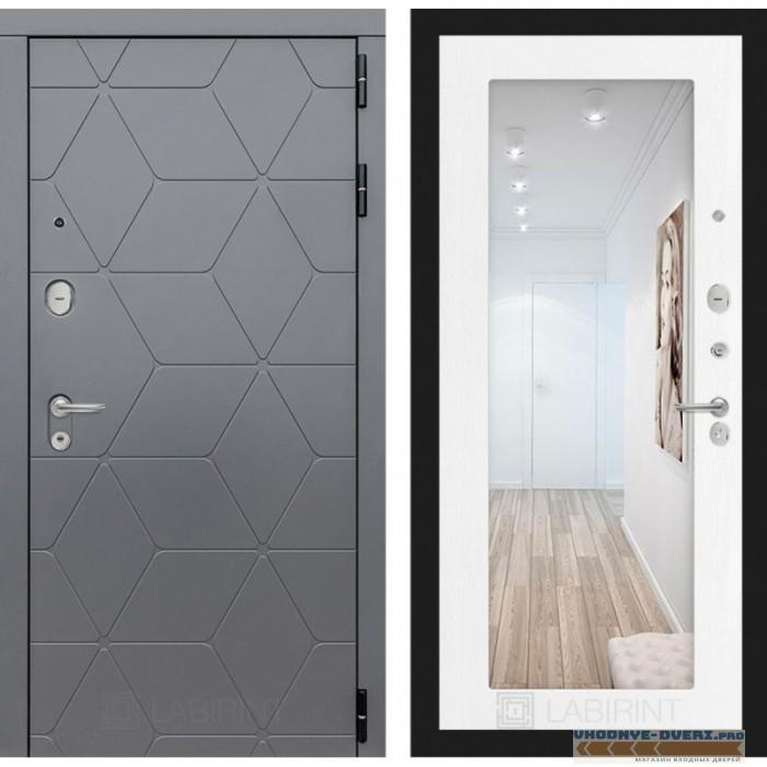 Входная дверь Лабиринт COSMO с зеркалом 18 - Белое дерево