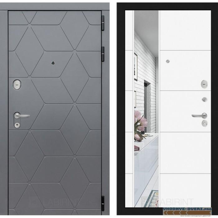 Входная дверь Лабиринт COSMO с зеркалом 19 - Белый софт