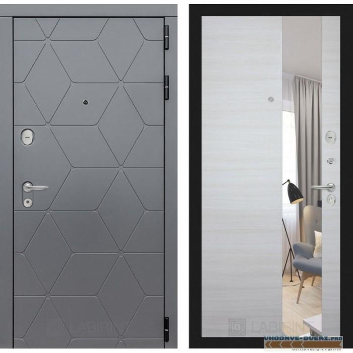 Входная дверь Лабиринт COSMO зеркало - Акация светлая горизонтальная