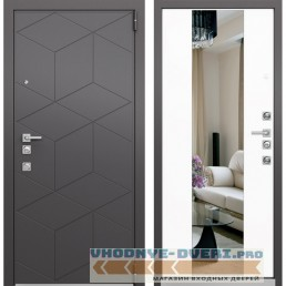 Входная дверь Mastino Forte с Зеркалом (Темный пепел MS-112 / Милк матовый MS-120)