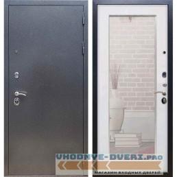 Входная дверь REX 11 Антик серебро Пастораль Белый ясень (с зеркалом)