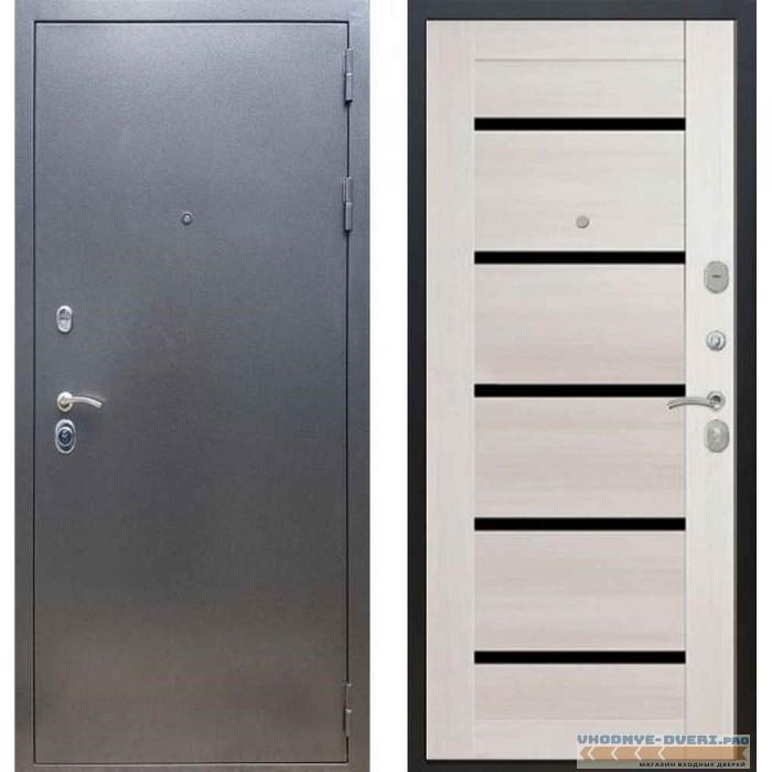 Входная дверь REX 11 Антик серебро СБ-14 Лиственница бежевая, черные стекла