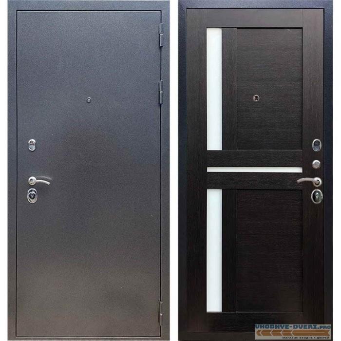 Входная дверь REX 11 Антик серебро СБ-18 Венге, белые стекла