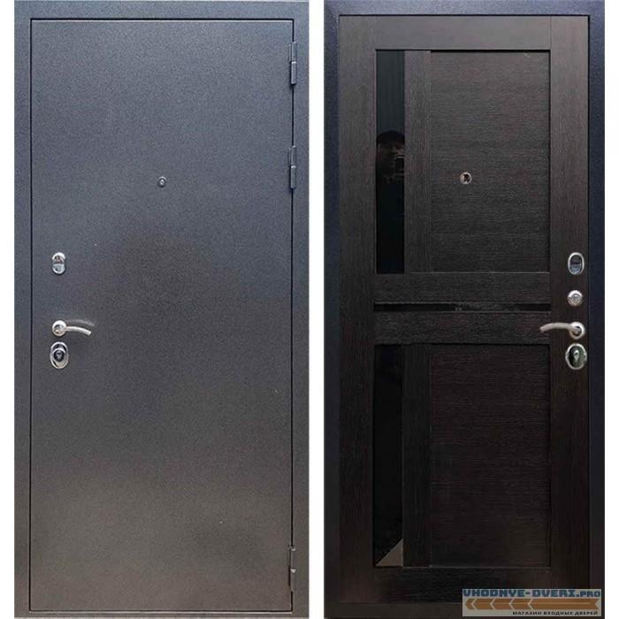 Входная дверь REX 11 Антик серебро СБ-18 Венге, черные стекла