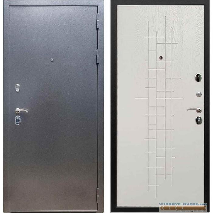 Входная дверь REX 11 Антик серебро ФЛ-289 Белый ясень