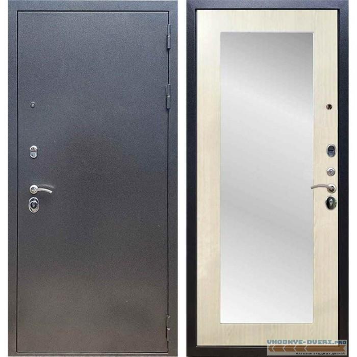 Входная дверь REX 11 Антик серебро Пастораль Лиственница бежевая (с зеркалом)